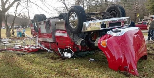 Driver airlifted after Firetruck crash on Highway 11 in Knox County, KY